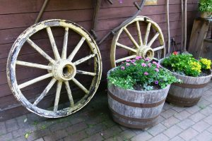 Container Vegetable Gardening Antique Wheels