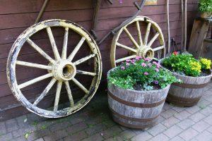 Container Vegetable Gardening Antique Wheels